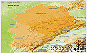 Political Shades Panoramic Map of Franche-Comté, physical outside