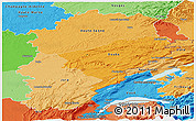 Political Shades Panoramic Map of Franche-Comté