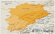 Political Shades Panoramic Map of Franche-Comté, shaded relief outside