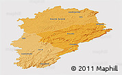 Political Shades Panoramic Map of Franche-Comté, single color outside