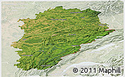 Satellite Panoramic Map of Franche-Comté, lighten