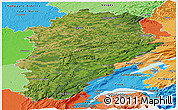 Satellite Panoramic Map of Franche-Comté, political shades outside