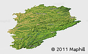 Satellite Panoramic Map of Franche-Comté, single color outside