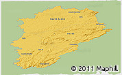 Savanna Style Panoramic Map of Franche-Comté, single color outside