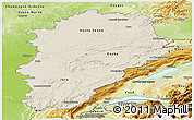 Shaded Relief Panoramic Map of Franche-Comté, physical outside