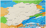 Shaded Relief Panoramic Map of Franche-Comté, political outside