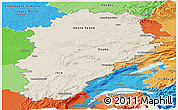 Shaded Relief Panoramic Map of Franche-Comté, political shades outside