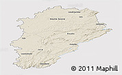 Shaded Relief Panoramic Map of Franche-Comté, single color outside