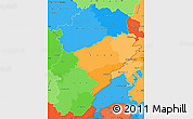 Political Simple Map of Franche-Comté, political shades outside