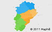 Political Simple Map of Franche-Comté, single color outside
