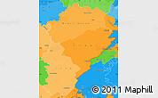 Political Shades Simple Map of Franche-Comté, political outside
