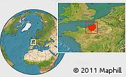 Satellite Location Map of Haute-Normandie