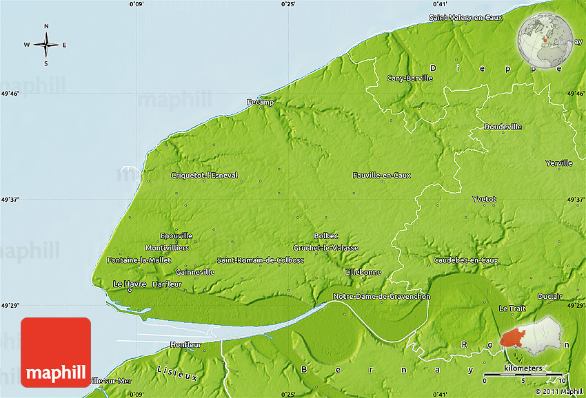 Physical Map Of Le Havre