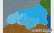 Political Shades Map of Seine-Maritime, darken