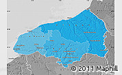 Political Shades Map of Seine-Maritime, desaturated