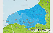 Political Shades Map of Seine-Maritime, physical outside