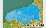 Political Shades Map of Seine-Maritime, satellite outside