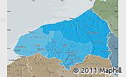 Political Shades Map of Seine-Maritime, semi-desaturated