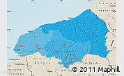 Political Shades Map of Seine-Maritime, shaded relief outside