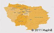 Political Shades 3D Map of Île-de-France, cropped outside