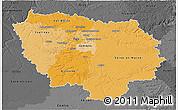Political Shades 3D Map of Île-de-France, darken, desaturated
