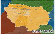 Political Shades 3D Map of Île-de-France, darken