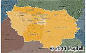 Political Shades 3D Map of Île-de-France, darken, semi-desaturated
