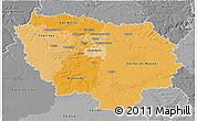 Political Shades 3D Map of Île-de-France, desaturated
