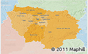 Political Shades 3D Map of Île-de-France, lighten