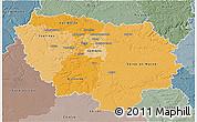 Political Shades 3D Map of Île-de-France, semi-desaturated