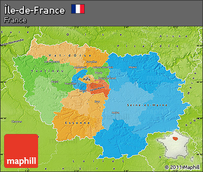 Free Political Map of ledeFrance physical outside