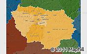 Political Shades Map of Île-de-France, darken