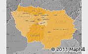 Political Shades Map of Île-de-France, desaturated