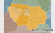Political Shades Map of Île-de-France, semi-desaturated