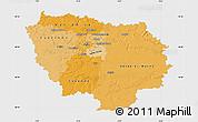 Political Shades Map of Île-de-France, single color outside