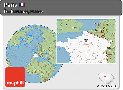 Map Of France With Paris Highlighted.Free Savanna Style Location Map Of Paris Highlighted Country