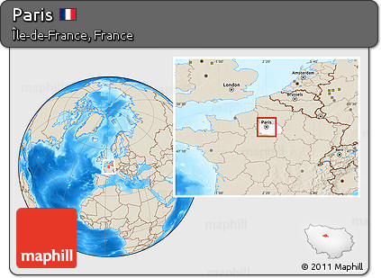 Map Of France With Paris Highlighted.Free Shaded Relief Location Map Of Paris Highlighted Parent Region
