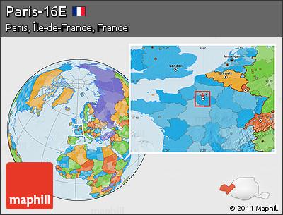 Free Political Location Map Of Paris 16e