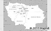 Gray Simple Map of Île-de-France