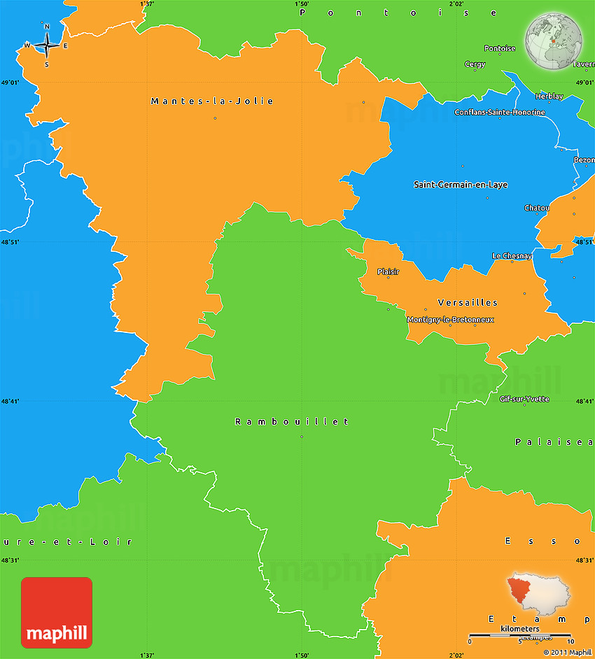 Map Of Yvelines France.Political Simple Map Of Yvelines