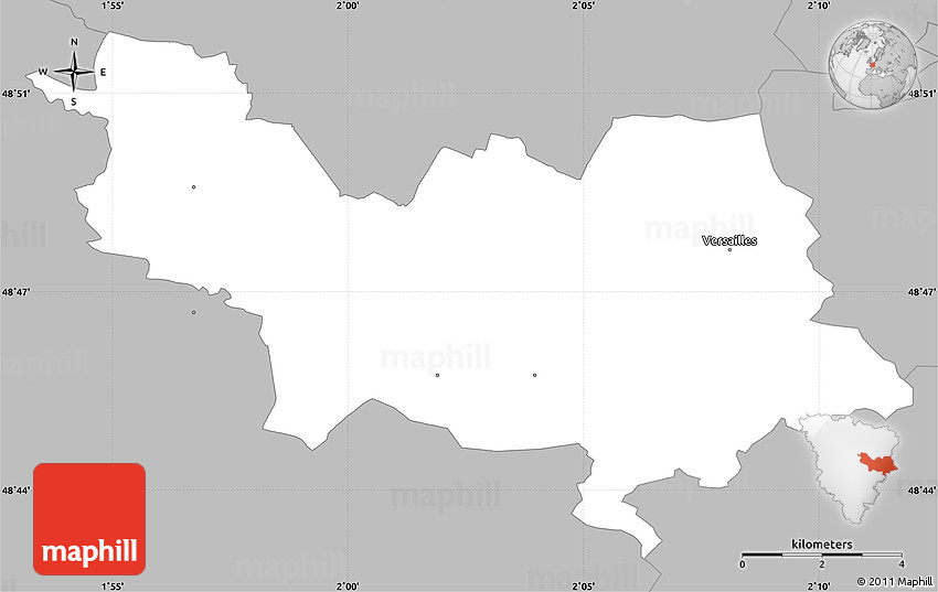 Map Of Yvelines France.Gray Simple Map Of Versailles