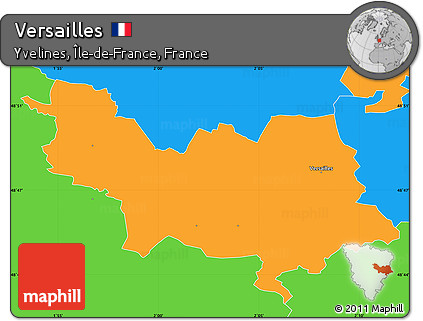 Map Of Yvelines France.Free Political Simple Map Of Versailles