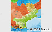 Physical 3D Map of Languedoc-Roussillon, political shades outside