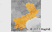 Political Shades 3D Map of Languedoc-Roussillon, desaturated