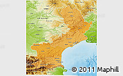 Political Shades 3D Map of Languedoc-Roussillon, physical outside