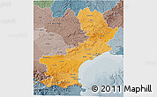 Political Shades 3D Map of Languedoc-Roussillon, semi-desaturated