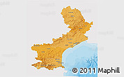 Political Shades 3D Map of Languedoc-Roussillon, single color outside