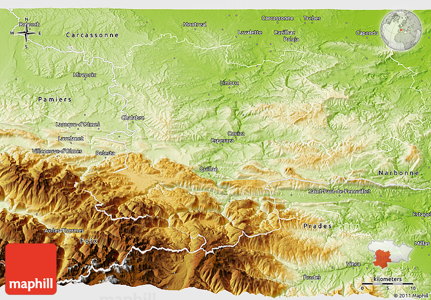 Limoux France Map.Physical 3d Map Of Limoux