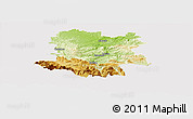 Physical Panoramic Map of Limoux, cropped outside