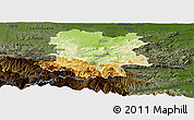 Physical Panoramic Map of Limoux, darken
